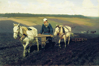 Portrait of Leo Tolstoy as a Ploughman on a Field (Repin)